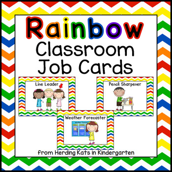 Classroom Jobs Signs with Rainbow Backgrounds