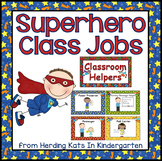 Classroom Jobs Signs with Super Hero Themed Backgrounds