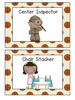 Classroom Jobs Signs with Sports Theme Backgrounds