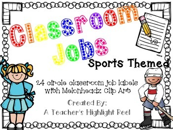 Classroom Jobs - Sports Themed Circle Chalkboards with Melonheadz Clip Art