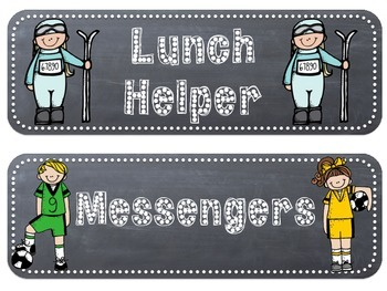 Classroom Jobs - Sports Themed Rounded Rectangle Chalkboards with Melonheadz