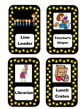 Classroom Jobs - Star Themed