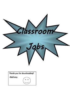 Classroom Jobs (Starburst/Explosion Theme)