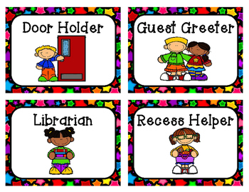 Multicolored Star Themed Classroom Job Cards