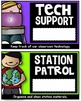 Classroom Jobs - Student Job Cards and Name Tags (Black and Brights)