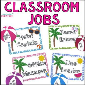 Classroom Jobs - Summer/Beach Theme