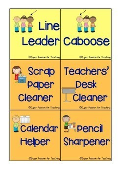 Classroom Jobs Super Passion for Teaching Resources