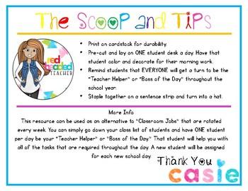 Classroom Jobs - Teacher Helper and Boss of the Day Hat