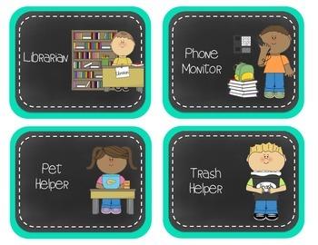 Classroom Jobs- Teal & Chalkboard