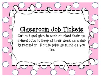 Classroom Jobs Tickets