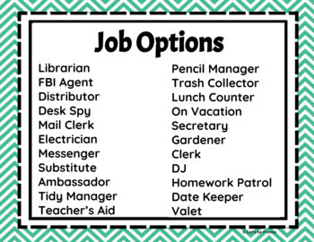 Classroom Jobs Upper Elementary