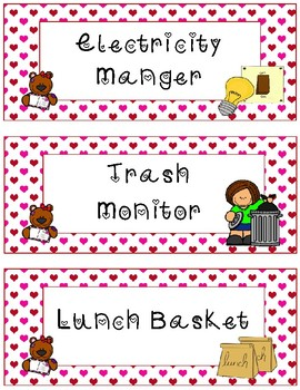 Classroom Jobs~ Valentine Teddy Bear