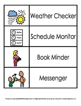 Classroom Jobs Visuals (Pictures and Words)