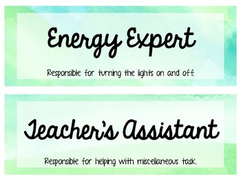 Classroom Jobs { Watercolor }