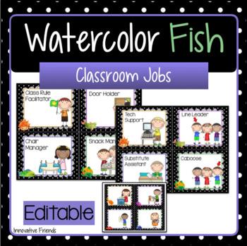 Classroom Jobs Editable Watercolor Fish Theme