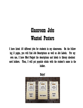 Classroom Jobs-Western Wanted Poster Style