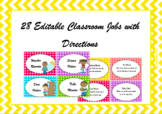 Classroom Jobs With Directions (Editable)