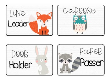 Classroom Jobs: Woodland Animals Theme with Posters