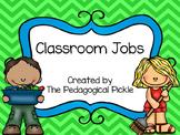 Classroom Jobs -- Green & Blue Color Scheme
