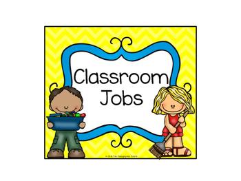 Classroom Jobs -- Yellow & Blue Color Schemee