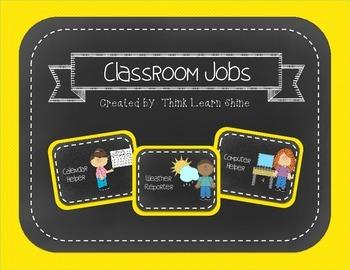 Classroom Jobs- Yellow & Chalkboard