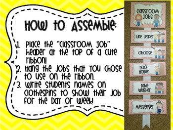 Classroom Jobs- Yellow Chevron