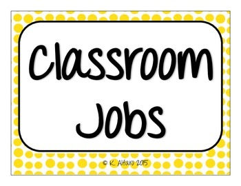 Classroom Jobs - You're Hired!
