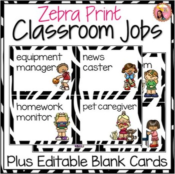 Classroom Helpers - 44 Illustrated Job Cards - Zebra Print