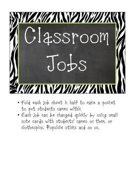 Classroom Jobs Zebra Print