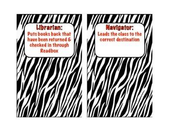 Classroom Jobs - Zebra Print