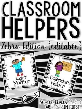 Classroom Jobs Zebra Print Edition EDITABLE