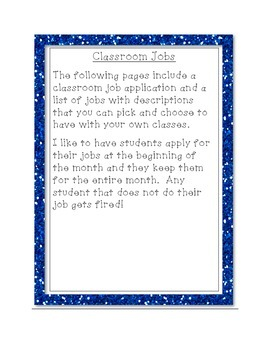 Classroom Jobs and Job Application for Elementary Students