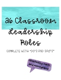 Classroom Jobs and Leadership Roles List