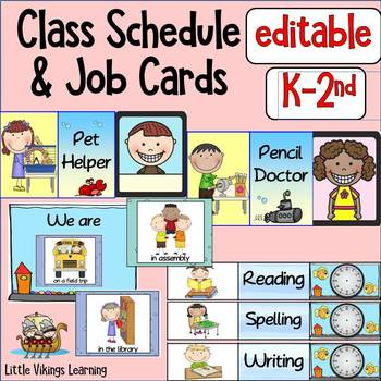 Classroom Jobs and Schedule Cards Ocean Theme EDITABLE