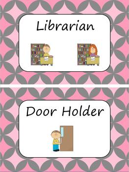 Classroom Jobs and Token Economy - Charcoal Pink -Editable