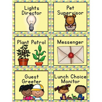 Classroom Jobs editable (Bird Theme)