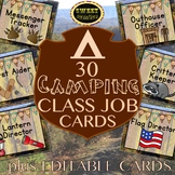 Editable Classroom Jobs | Camping Themed Classroom Decor