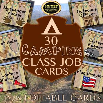 Classroom Jobs editable (Camping Theme)