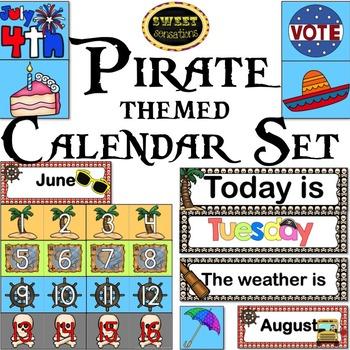 Classroom Calendar Set (Pirate Theme)