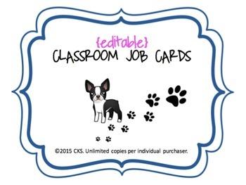 Classroom Jobs {editable dog theme-Boston Terrier}