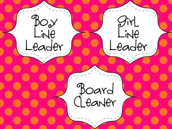 Classroom Jobs for Everyone Orange/Pink Polka Dots