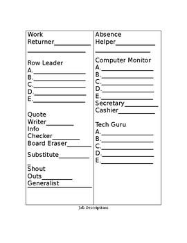 Classroom Jobs for Secondary