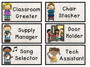 Classroom Jobs in 4 Themes