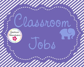 Classroom Jobs in Blue and Purple with Elephants