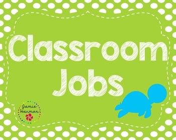 Classroom Jobs in Blues and Greens with Turtles