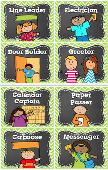 Classroom Jobs in Bright Chevron~ LIME and Editable Job Cards