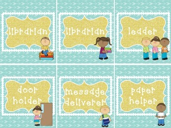 Classroom Jobs in Mint Green and White Arrows and Gold Frames
