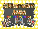 Classroom Jobs in PRIMARY polka Dot & Chalkboard with EDITABLE Job Cards