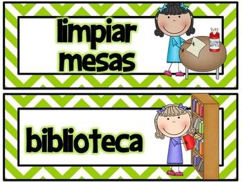 Classroom Jobs in Spanish Green Chevron