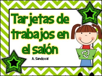 Classroom Jobs in Spanish Green Chevron